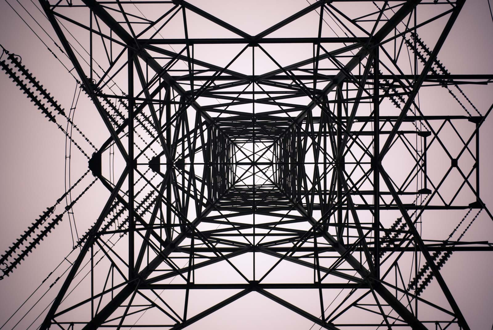 Poer pylon viewed from underneath